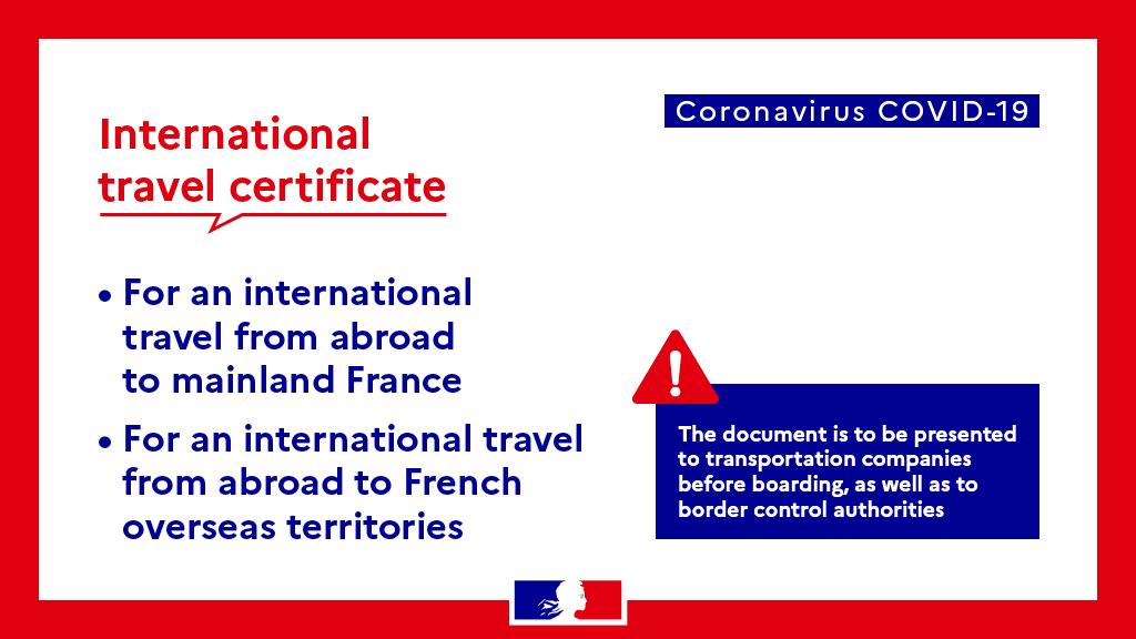 International Travel Certificate La France En Australie